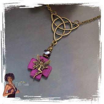 Kette mit Anhänger Elfe antik bronze/violett - Schmuckteile & Perlen von TMS Trends