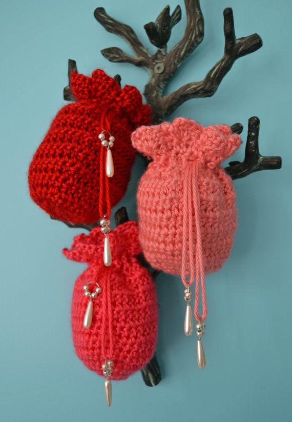 Valentine Gift Bags Crochet Drawstring Tiny Bag By Tannagail