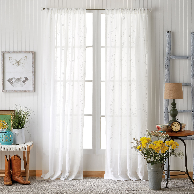 The Pioneer Woman Ravishing Rosebud Pole Top Curtain Panel Walmart Com Panel Curtains Curtains Living Room Bedroom Furnishings