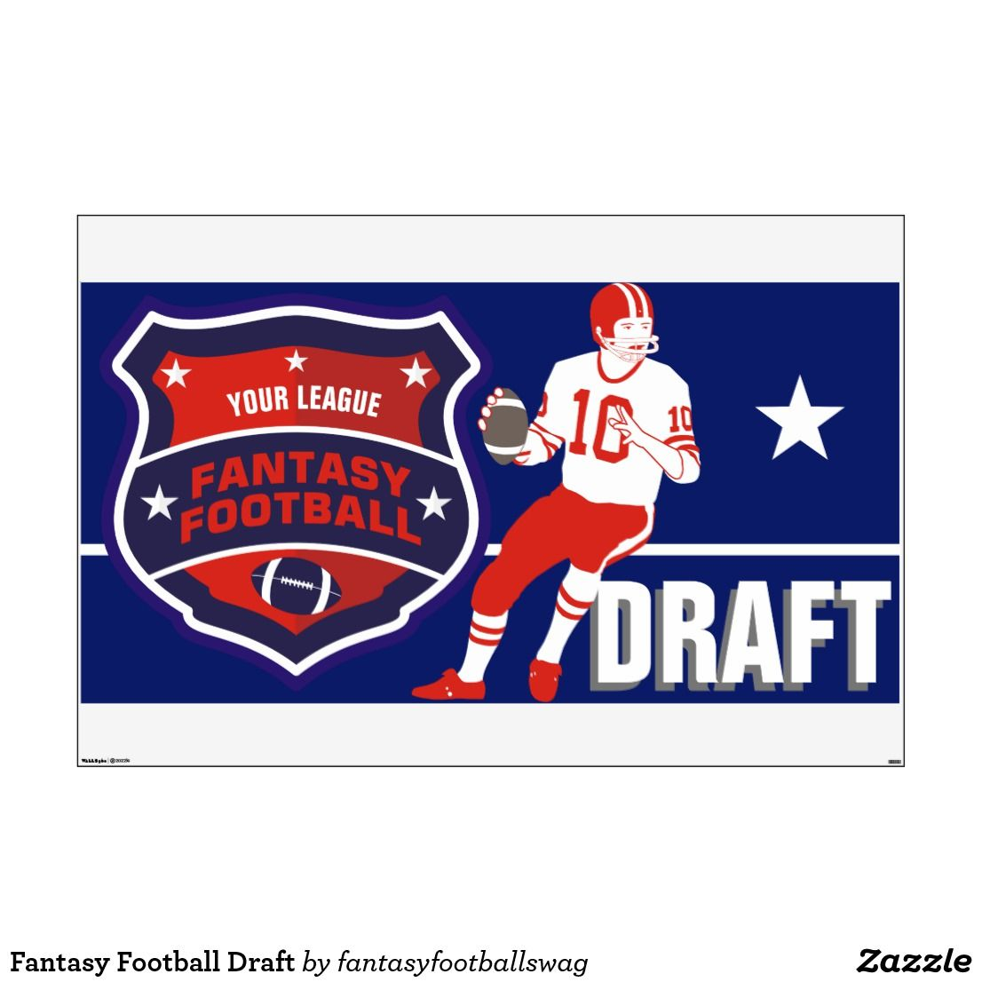 Fantasy Football Draft Wall Decal Zazzle Com With Images