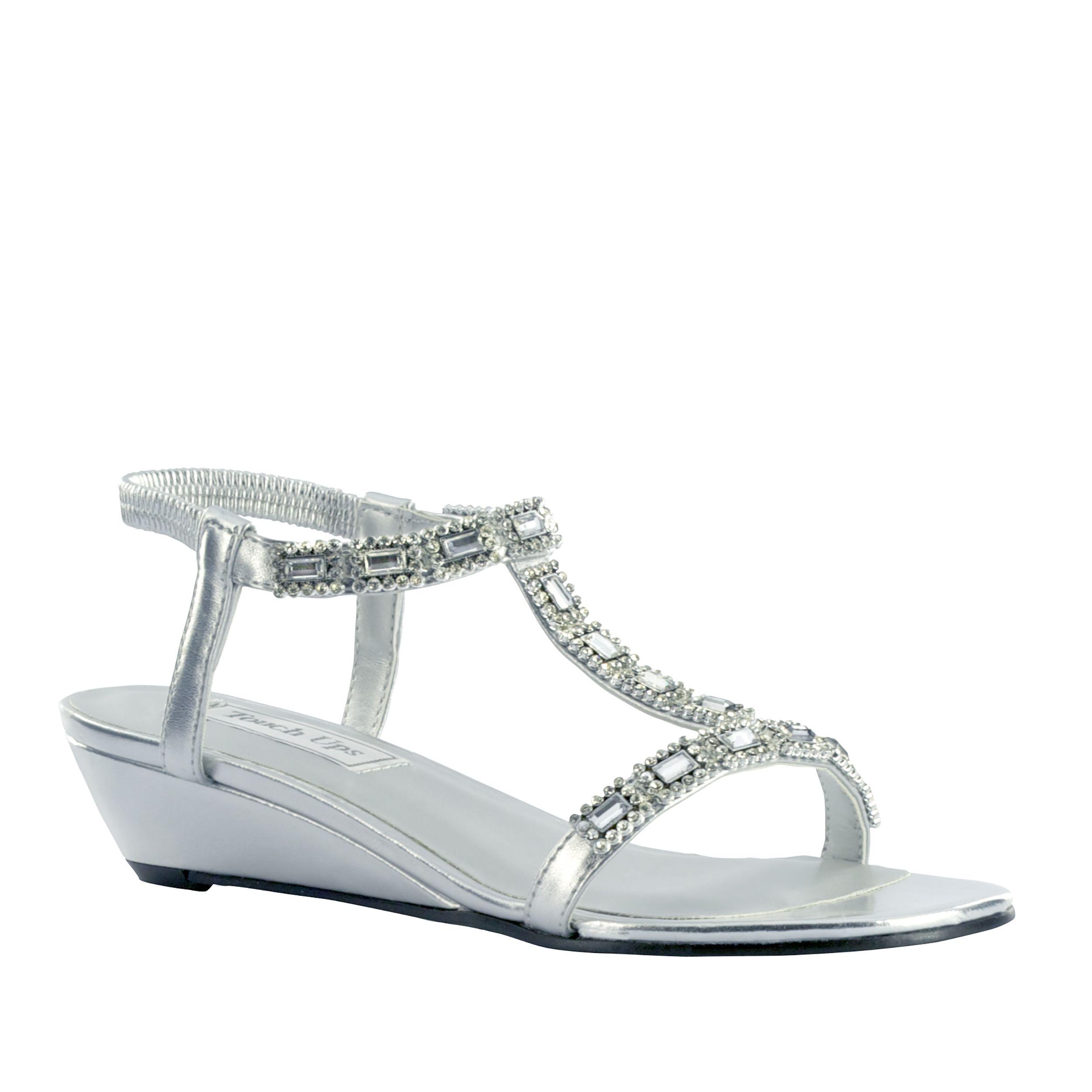 Touch Ups Women's Jazz Silver Wedge Shoe Wide Width