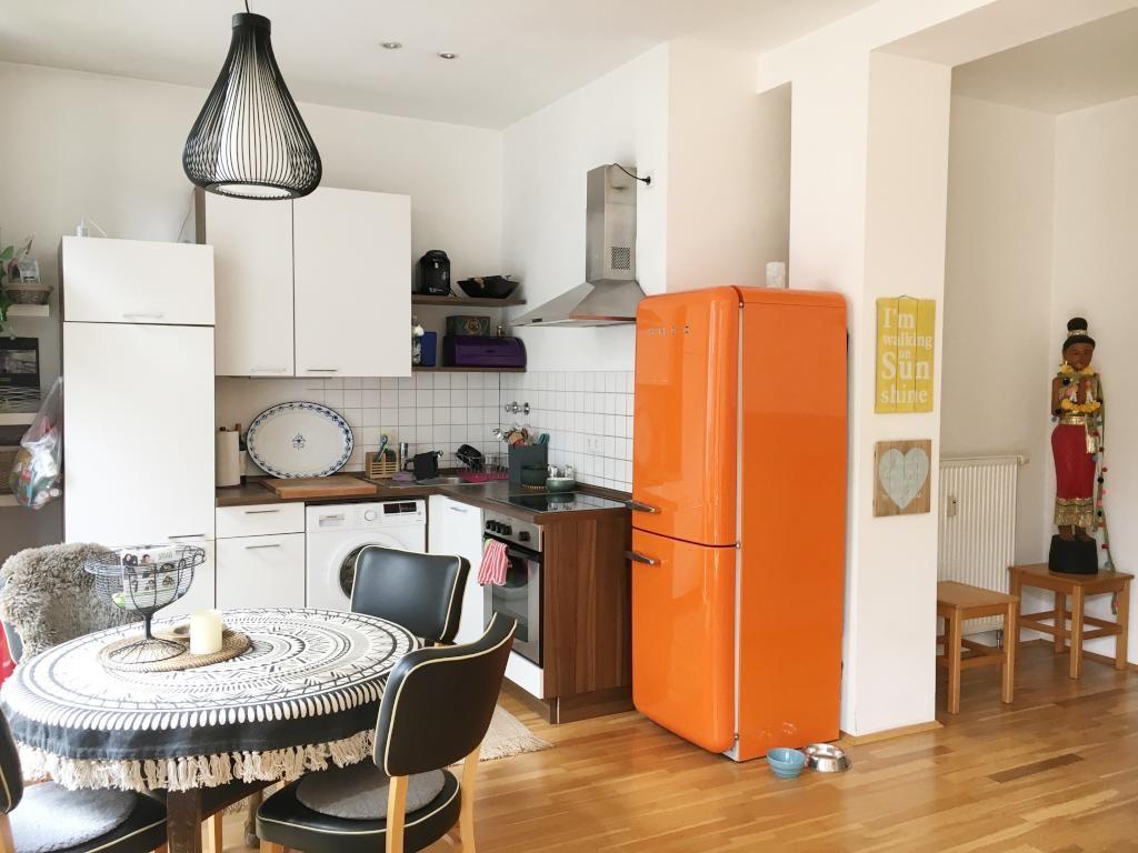 Brilliant Schöne Einrichtung Das Beste Von Schöne Offene Küche Mit Orangem Smeg-kühlschrank Und