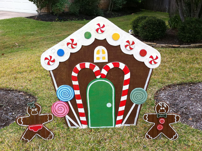 Gingerbread house yard art christmas decoration for Gingerbread house outdoor decorations