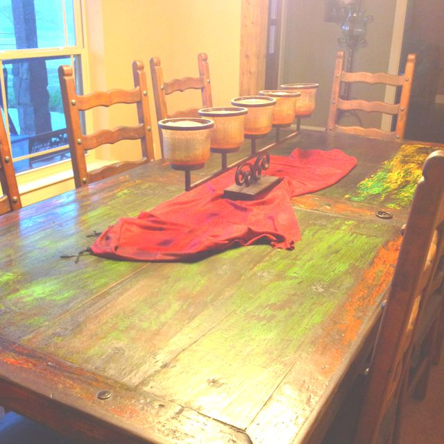 Old Mexican Door As A Dining Room Table