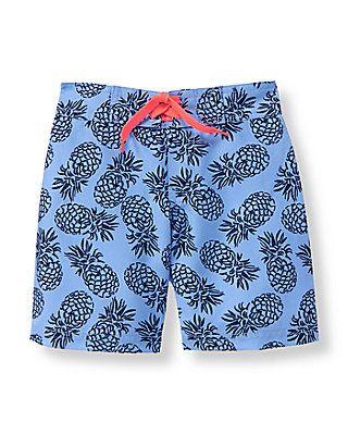 224d1cede29b2 Pineapple Print Swim Trunk | Landon Kyle | Baby boy swimwear, Swim ...