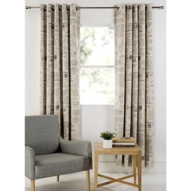 Lounge room curtains - KOO Postage Eyelet Curtains Beige 220 - 270 x