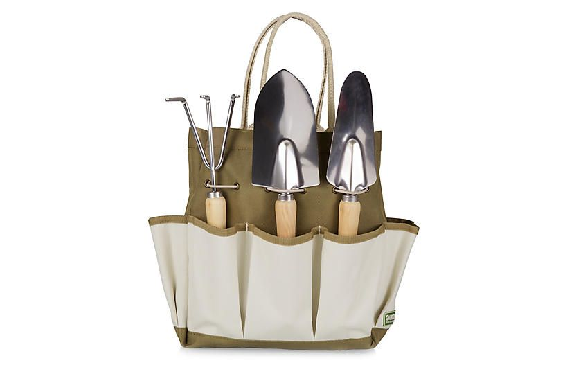 Garden Tote Set, Olive/Multi | Garden tool set, Garden ...