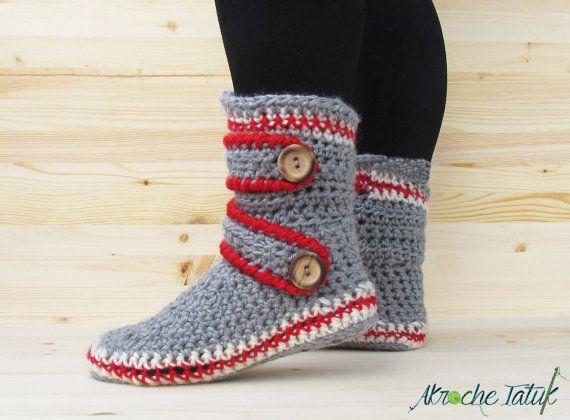 Pantoufles chausson style bas de laine grise crème par AkrocheTatuk ... b2b7e051bfad