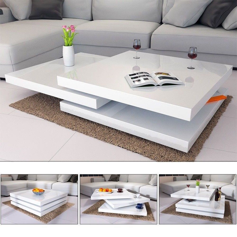 Portable Coffee Table White High Gloss Rotating 3 Layers Living Room Furniture Coffee Table Design Modern Modern Furniture Living Room Center Table Living Room