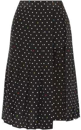 82a22867df Sandy Liang Uniform Cutout Polk-dot Silk-crepe Skirt | Products in ...