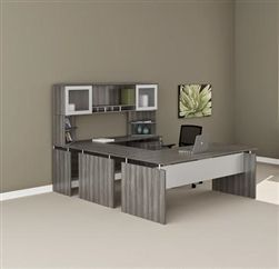 Contemporary Executive Desk With Gray Steel Wood Grain Finish