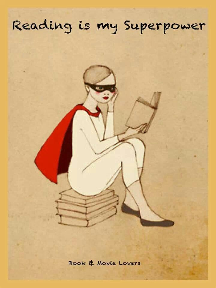 Reading Is My Super Power Girl Reading Ilustracoes Ilustracoes De Livros