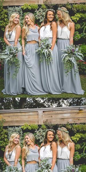 Two Piece Chiffon Bridesmaid Dresses, Blue Bridesmaid Dresses,Cheap Bridesmaid Dresses,WGY0264