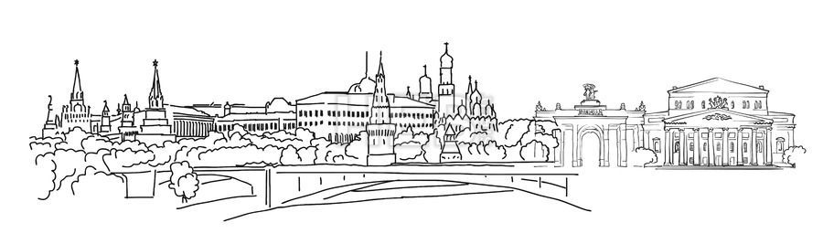 Moscow Panorama Sketch by