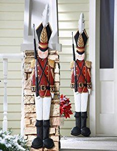 amazoncom knlstore set of 2 christmas holiday metal toy soldiers nutcracker outdoor mounted - Nutcracker Outdoor Christmas Decorations