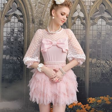 99249ce0a3b4a5 Delicate Half Sleeve Gauze Bow Lace Patchwork Slim Blouses For Women ...