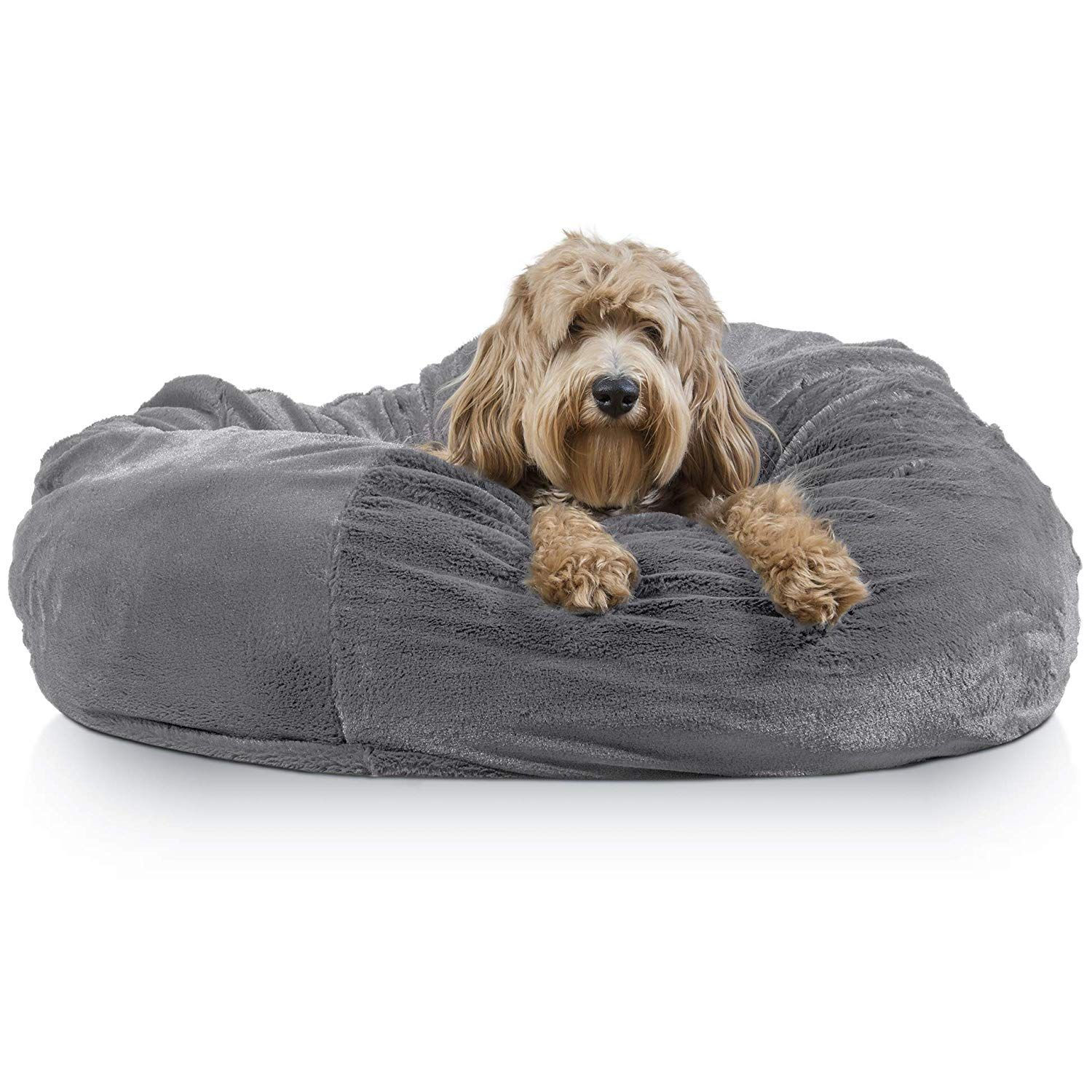 Furhaven Pet Dog Bed Round Plush Faux Fur Refillable Ball Nest Cushion Pet Bed W Removable Cover Dog Pet Beds Animal Pillows Furhaven