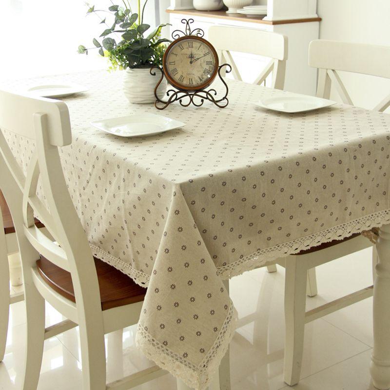 pas cher dentelle de coton en tissu nappe daisy fleur lin. Black Bedroom Furniture Sets. Home Design Ideas