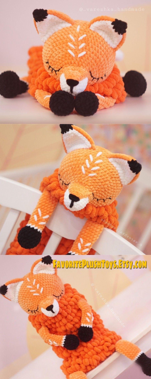 Amigurumi BIG fox pattern,  Softy toy Fox, Lovey Toy CROCHET  sleepy stuffed Fox for room decor