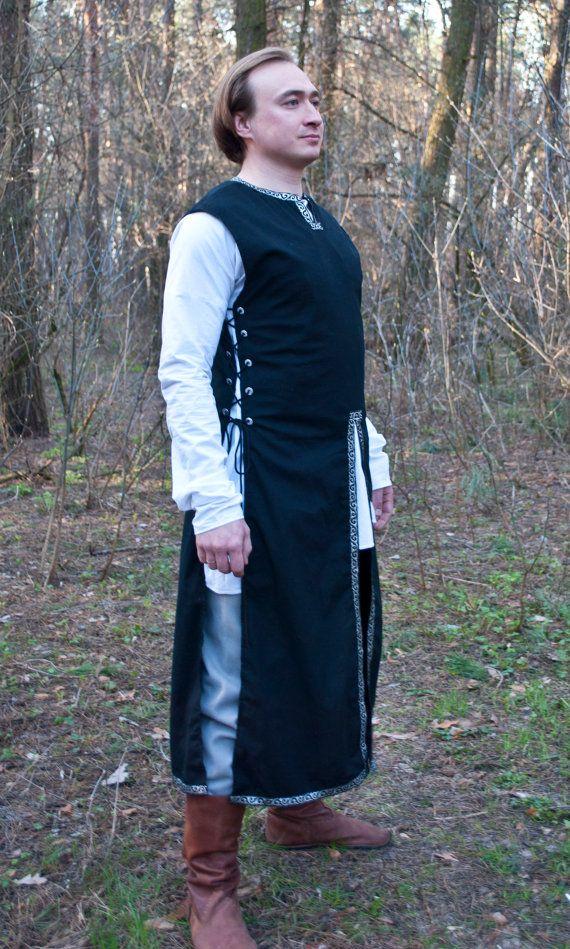 Fantasy surcoat Medieval surcoat LARP Linen surcoat Medieval garb Knight garb SCA elven Fantasy tunic medieval reenactment overcoat NnJBl