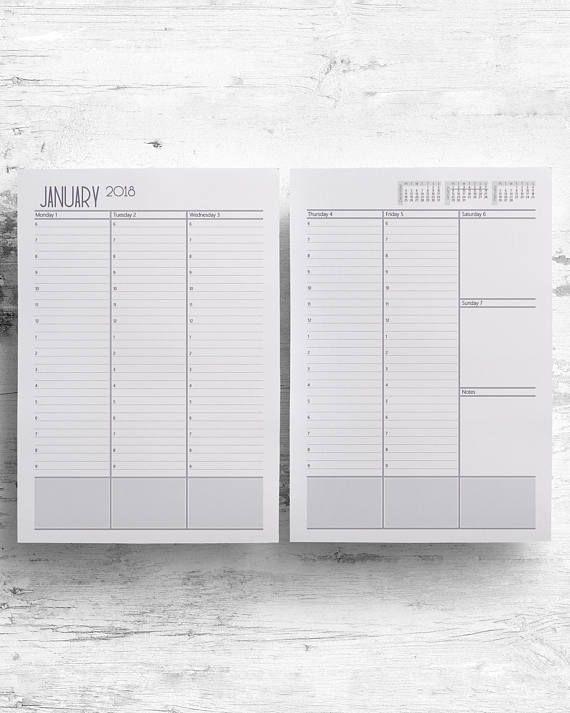2018 2019 Hourly Weekly Planner Printable, Full M-F, Agenda Schedule