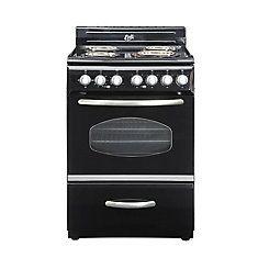 700 24 Inch Retro Style Electric Range In Black Retro Appliances Retro Stove Electric Range