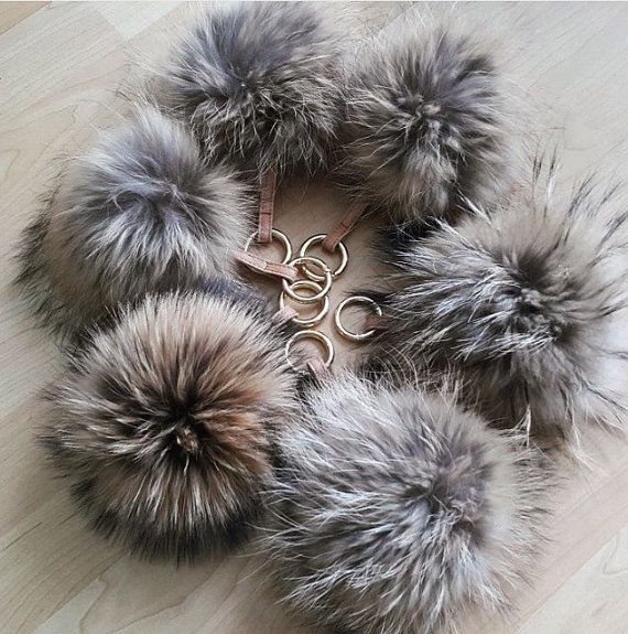 Natural Brown Fluffy Raccoon Fur Big Pom Pom Ball Keyring keychain Bag  Purse Charm leather strap wit e11559112f
