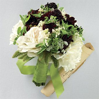 """""""This bouquet offers aromas of peonies, mint, oregano and fresh blackberries, reflecting the bounty of the warmer months, and also includes burgundy dahlias, chocolate cosmos, chocolate scabiosa, Queen Anne's lace and lilies of the valley"""""""