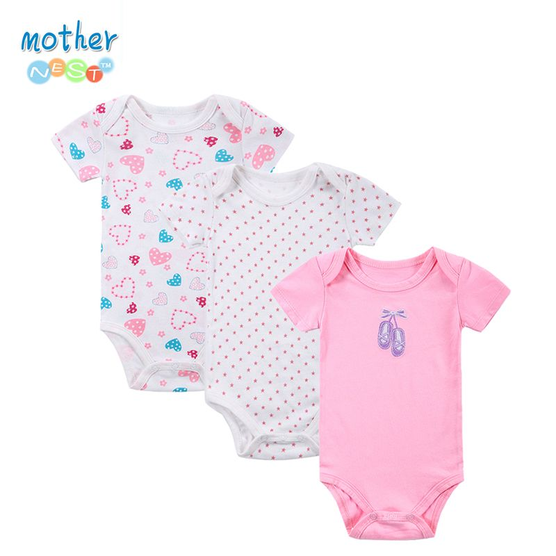 100% Ropa Para Bebés de Algodón 3 unids/lote Baby Body de Manga Corta de Algodón Recién Nacido Ropa Interior Junto Infantil Niño Niña Pijamas Ropa