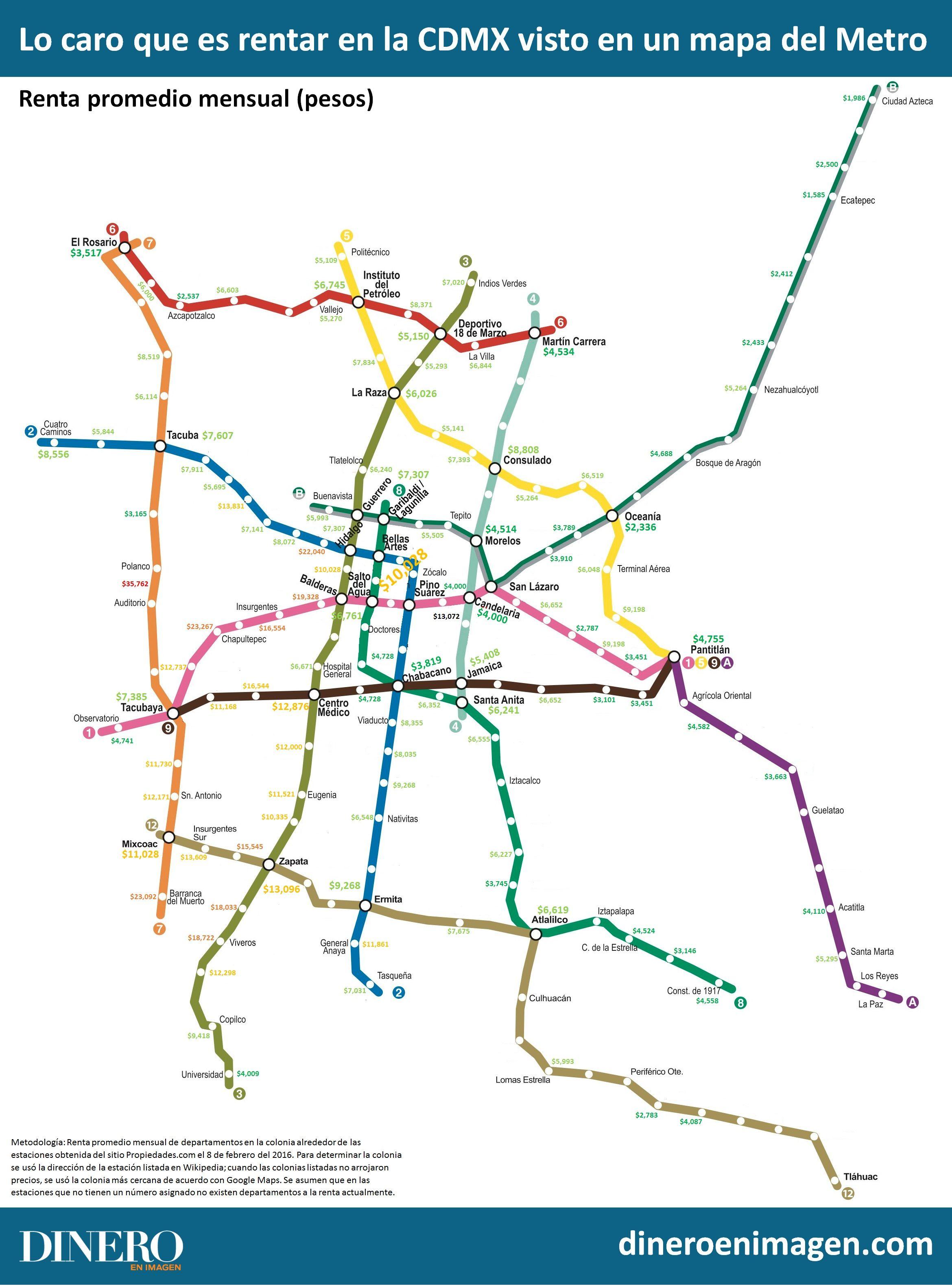 Lo caro que es rentar en la CDMX visto en un mapa del Metro