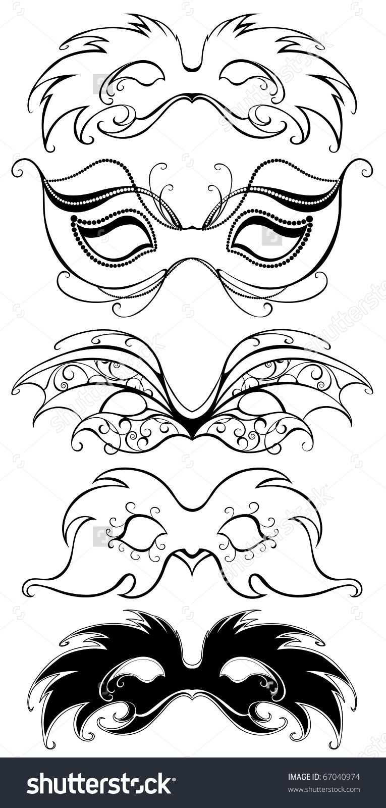 five black masks, art painted flexible black outline and decorated ...