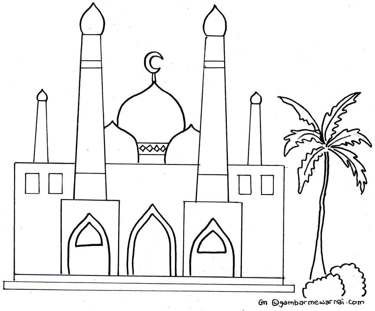 Gambar Mewarnai Masjid Kaligrafi Pinterest Indonesia