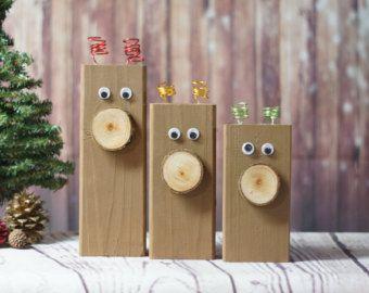 Holz Rentier   Hand Bemalte Rentier   Rustikale Weihnachts Dekor    Primitiven Holz Hirsch   Primitive Weihnachtsdekoration   Hölzernen  Weihnachtsdekoration