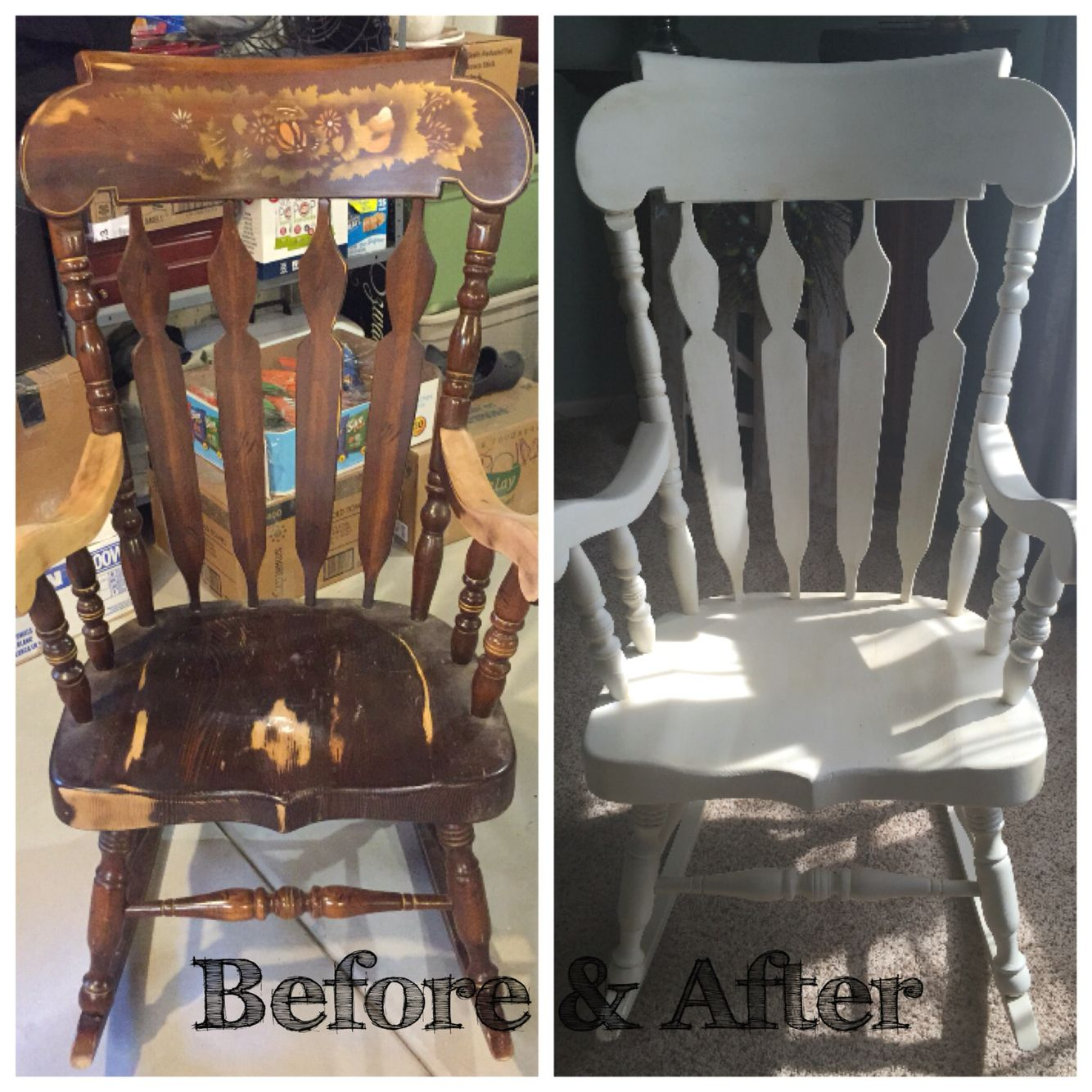 Wonderful Solid Wood Rocking Chair Restored. Painted White With Chalk Paint And Dark  Waxed.