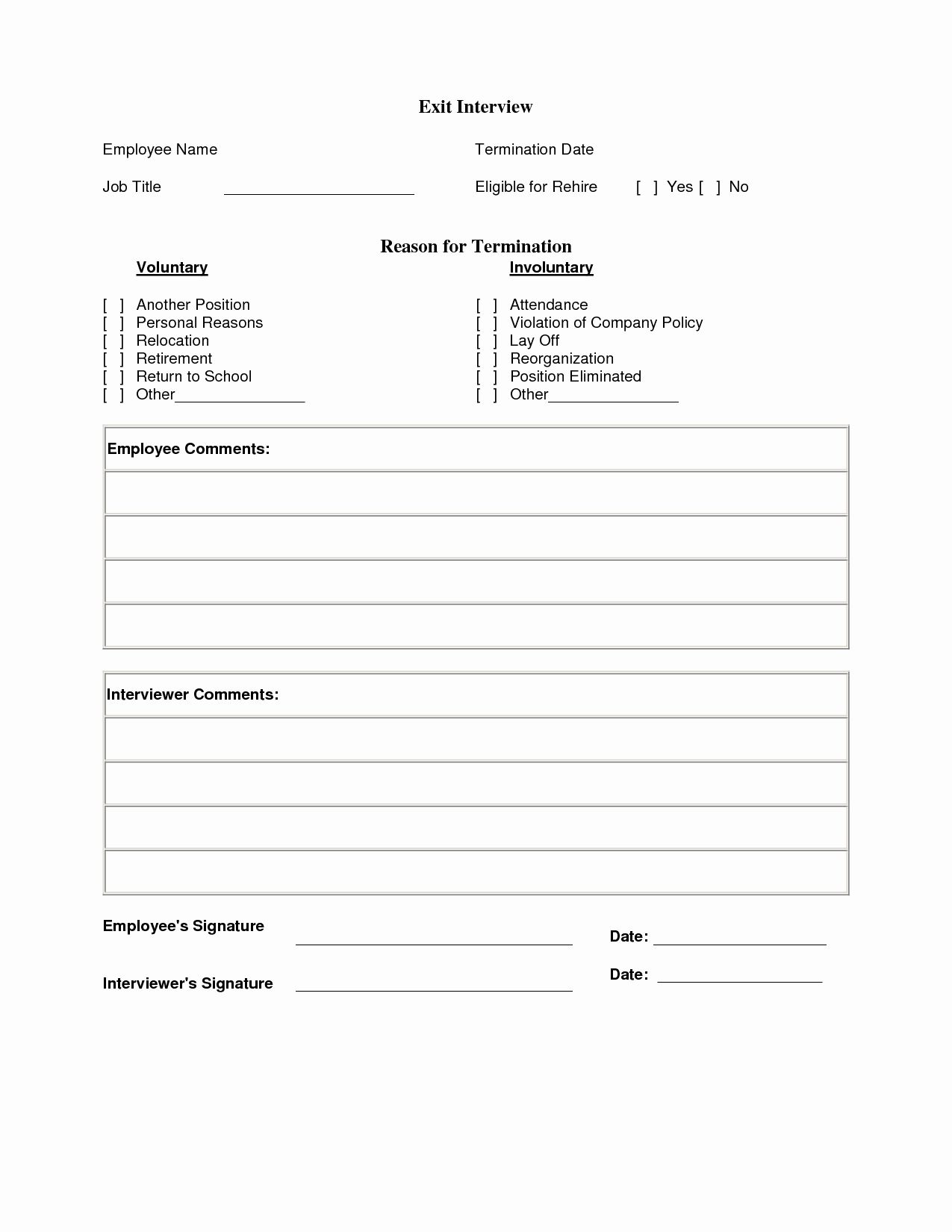 25 Employee Exit Interview form in 2020 Invitation