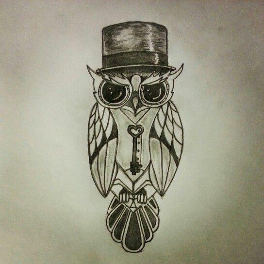 Key to the love owl tattoo sketch by - Ranz
