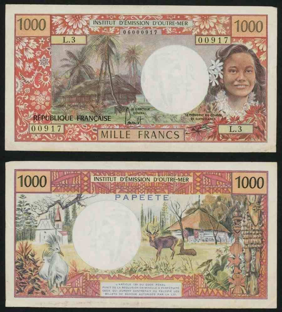 1977 100 dollar bill security features - Beautiful Tahiti 1000 Francs Banknote 1977 Institut D Emission D Outre Mer Very