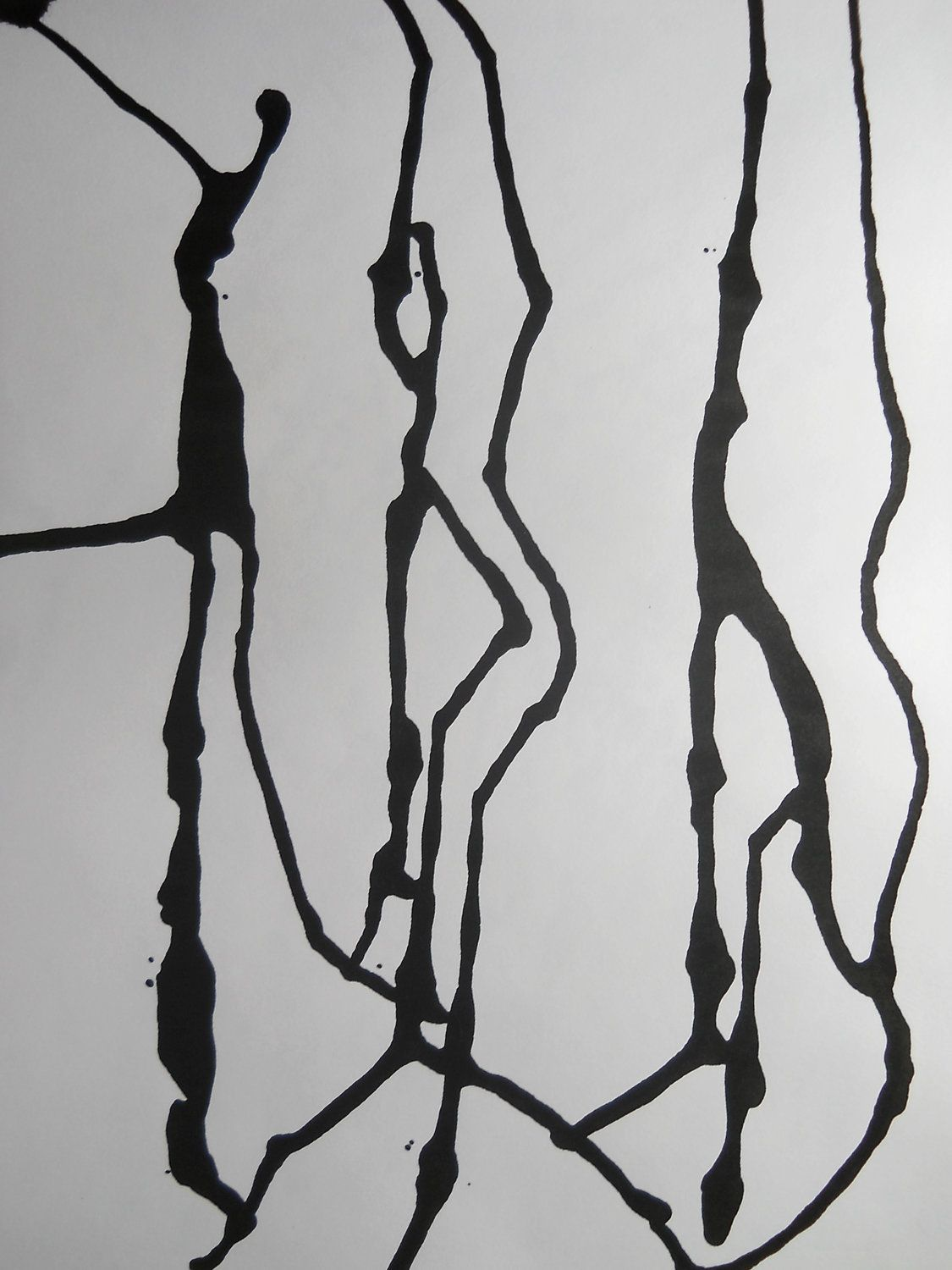 Synchronized Swimming - Original Modern Abstract Black and White Ink Painting (SOLD)