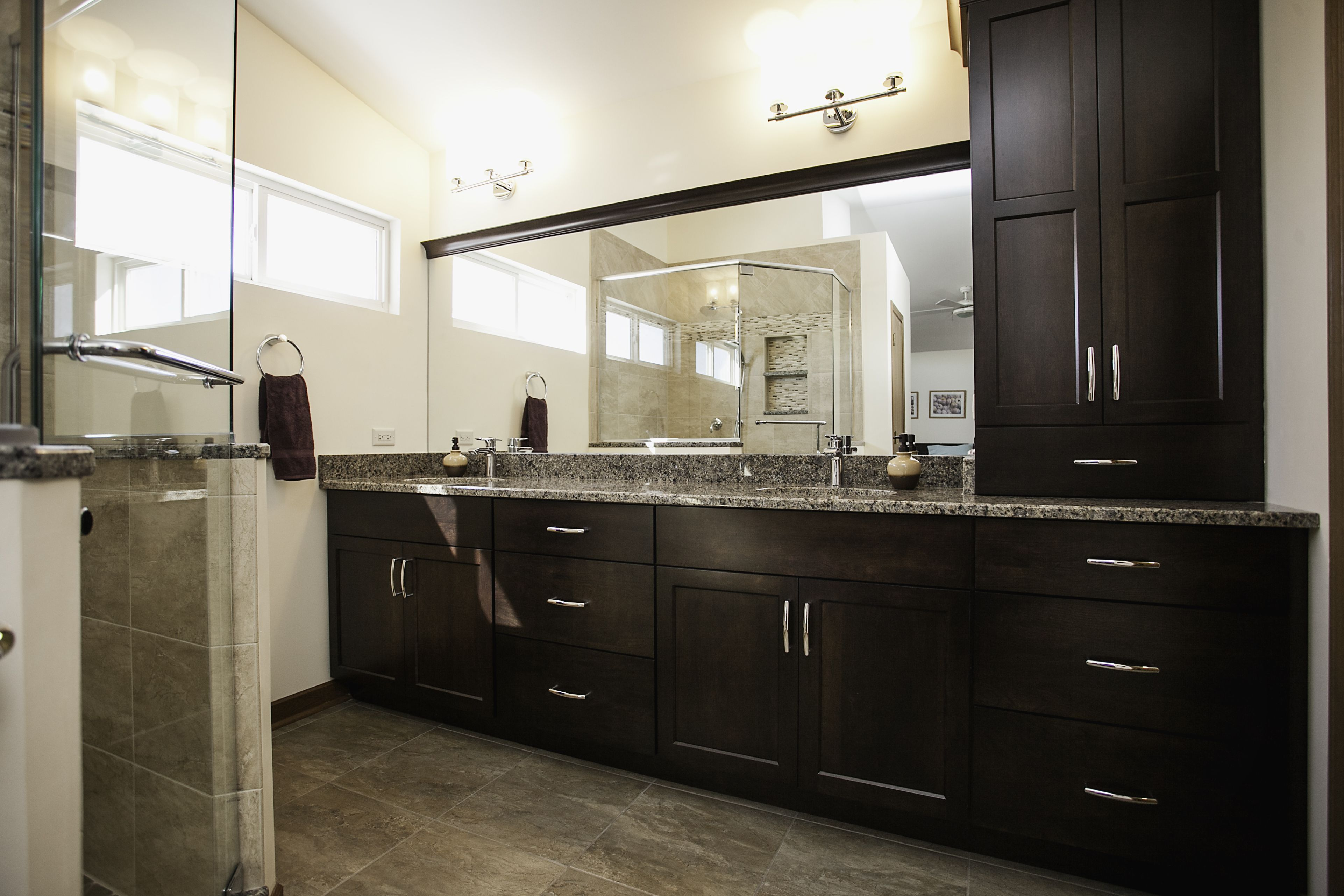 Bolingbrook Transitional Master Bath Extra Storage In Double Vanity And Tower Cabinet