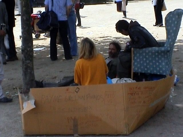 Underneath Mr Blaine Was A Homeless Man In A Cardboard Box On The Side Of It Was Written Pay Me 6 Million Pounds For Sitting Homeless Man Cardboard Box Man