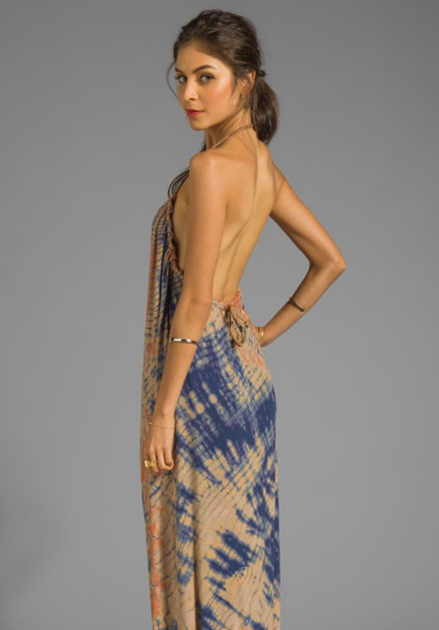 00bd4b6ce68685 Gypsy 05 La Ba Dee Bamboo Knit Braided Halter Maxi in Navy Peach from  REVOLVEclothing.com