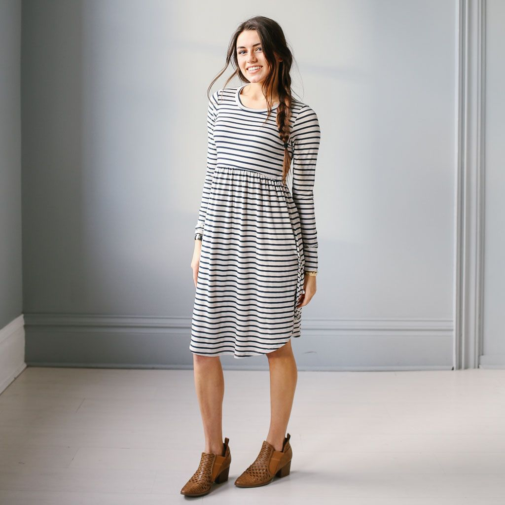Knit stripe dress with elastic waist long sleeves and scoop