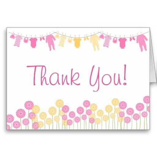 pink  yellow little clothes baby shower thank you