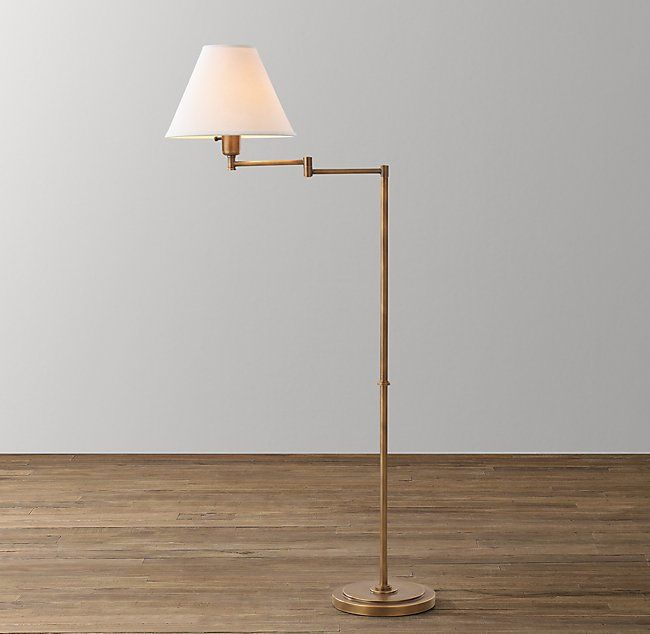 Ellis Swing Arm Floor Lamp With Tapered Shade Antiqued