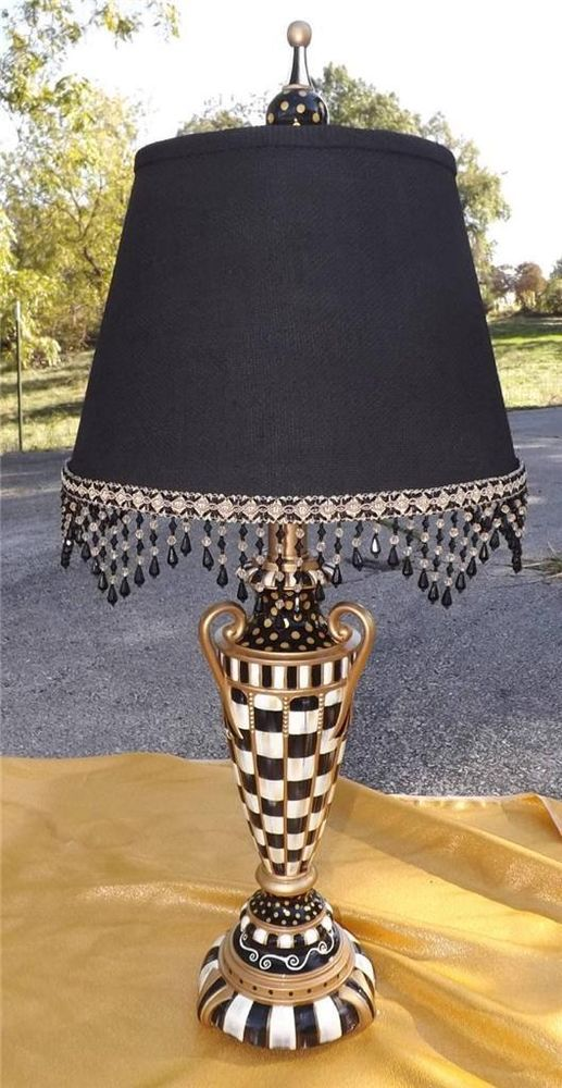 1 black white check table lamp hand painted by mackenzie kid black and white nice beaded swag scalloped trim to redo lamp shade aloadofball Gallery