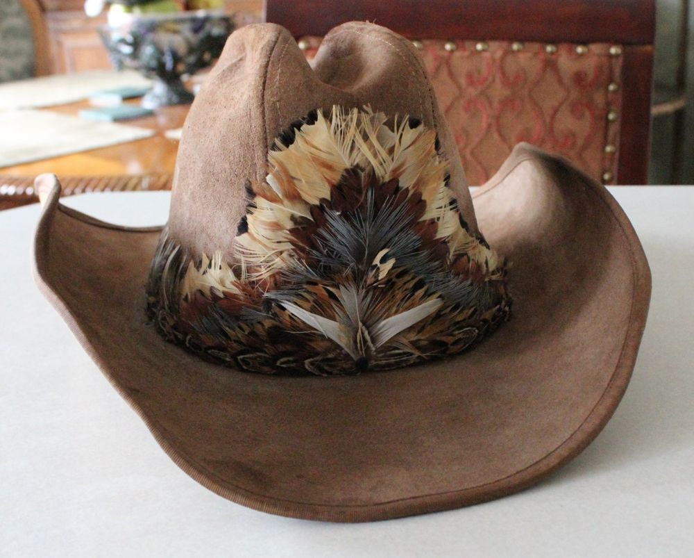 1b7512faa2448 Vintage Genuine Stetson Billy Kidd Leather Cowboy Hat Feather Hat Band 7  1 8  Stetson  CowboyWestern