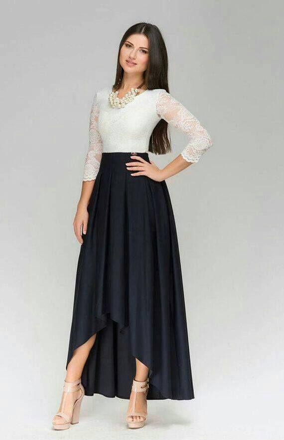 b6d97fbbf365 Falda larga cola de pato | ideas | Vestidos, Faldas largas y ...
