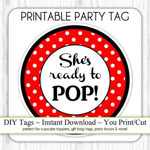 Sheu0027s About To Pop Baby Shower Printable, Black And Red Polka Dot About To  Pop, Instant Download Printable Party Tag, Cupcake Topper, DIY