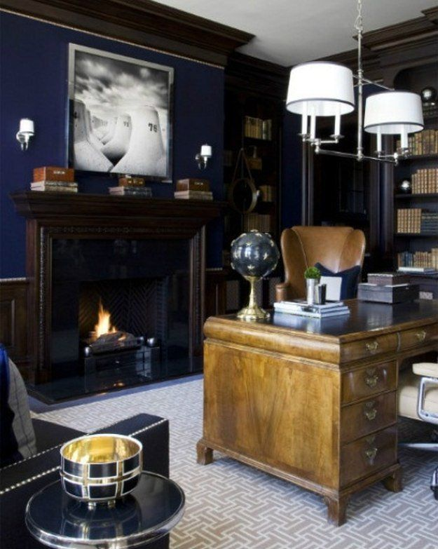 navy wall with chestnut furniture for mens office - Cool Man Cave