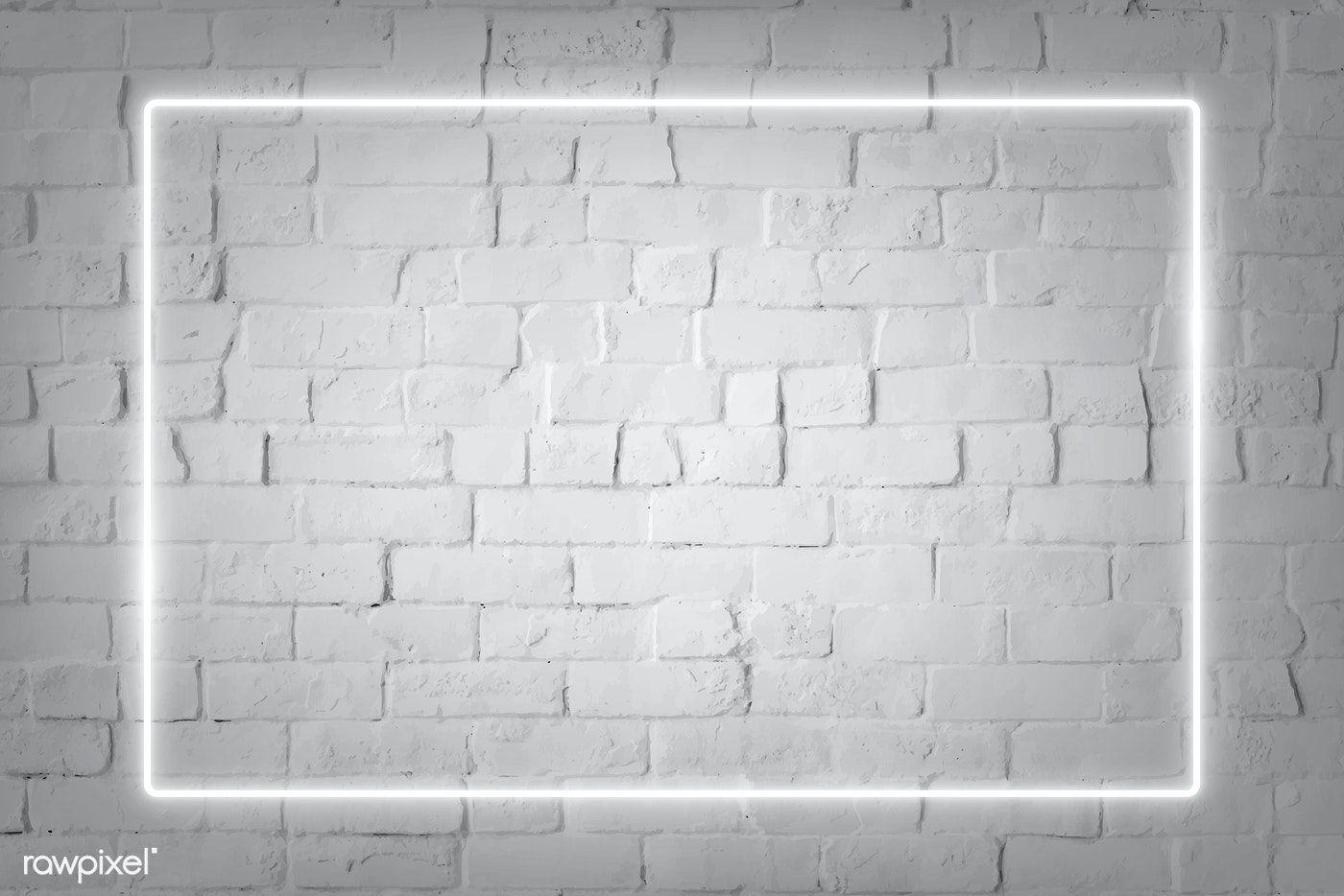 Download Premium Vector Of Rectangle White Neon Frame On A White Brick Black Brick Wall Neon Light Wallpaper Dark Background Wallpaper